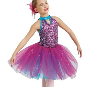 Wiseman plum and teal leotard and tutu